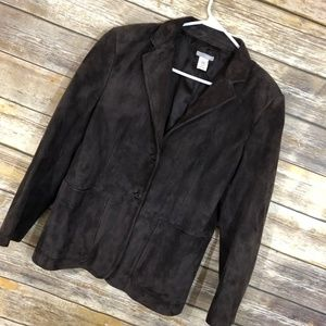 J Crew Brown Suede Leather Blazer Jacket Size 10